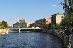 Berlin. Germany. (Svitlana Clover) Tags: appleiphone6s berlin germany europe vacation traveling autumn trees green blue sky journey tour outdoor tree river bridge building architecture water cars embankment quay seafront orange gray