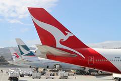 International Tails at SFO (320-ROC) Tags: qantas qantasairways vhoeg boeing747 boeing747400 boeing747438er boeing 747 747400 747438er b744 ksfo sfo sanfranciscointernationalairport sanfranciscoairport sanfrancisco