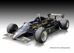 JPS Lotus 91/7 Nigel Mansell's 1982 car (Studio Five Photography (Terry Allsopp)) Tags: jpslotus 917 nigelmansell eliodeangelis colinchapman martinogilvie tonyrudd cosworth dfv hewland gearbox f1 formulaone fia grandprix reflestion studio canoneos5dmarkiii tyres wings aerodynamics groundeffect historic classic black gold wheels