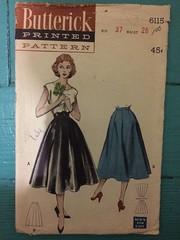 Butterick 6115 (kittee) Tags: vintagesewing vintagepattern skirt nodate hip37 wiast28 scallops empirewait fullskirt gores 1950s kittee