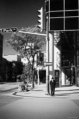 Waiting Patiently. Windsor, ON. (Pat86) Tags: photooftheday windsor downtown nikond7000 streetphotography blackandwhite man crosswalk parkstreet