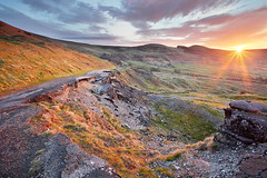 A Different Mam Tor (matrobinsonphoto) Tags: road old morning light summer sun sunlight mountain colors beautiful sunrise landscape hope dawn golden back colorful colours district derbyshire hill peak slide falling ridge valley hour landslide land slip colourful tor rise lose mam collapsed castleton landslip