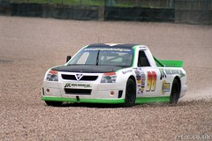 Anthony Hawkins runs wide at Old Hairpin (Tim R-T-C) Tags: racetrack accident pickuptruck motorracing motorsport autosport graveltrap doningtonpark pickuptruckracing racingtruck anthonyhawkins