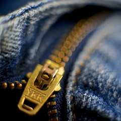 My favorite jeans (Caropaulus) Tags: blue macro gold bokeh bleu jeans zipper ykk dore fermetureeclair