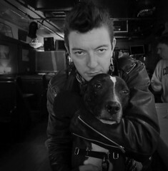 A Man and His Dog @ the 773 (lornagrl) Tags: leica nyc bw dog brooklyn bar coneyisland pub pitbull kensington 773 718 ditmaspark coneyislandavenue leicadlux5 773coneyislandavenue