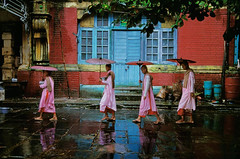 Steve McCurry - Burma, 1994. (Com o Olho e o Corao) Tags: street door pink blue girls red woman building brick art girl rain horizontal umbrella walking print outside outdoors women exterior dress robe walk sandals yangon burma fine young streetscene scene nun nuns line doorway dresses parasol monsoon flipflops myanmar procession 1994 umbrellas raining rangoon robes parasols linedup singlefile southsoutheast iconicphotographs stevemccurrybook burma10006 nyc5940 mcs1994009k202 phaidonmilanexhibit09 processionofnuns