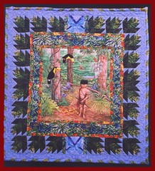 RAINFOREST NATIVES (dog.happy.art) Tags: original art quilt handpainted quilted freehand wallhanging artquilt mpn