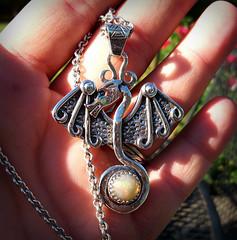 Manannan mac Lir Heart of Magic Dragon Opal Pendant forged in sterling silver . (leespicedragon) Tags: art silver dragon god ooak jewelry handcrafted sterling celtic trickster opal forged pendant valknut manannanmaclir heartofmagic