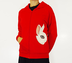 NEW Handpainted Hotot Rabbit hoodie - OOAK - two rabbits painted on a red ethical cotton hooded sweatshirt - ladies fitted style size XL by NYhop http://etsy.me/ZGY4tW (IM Team) Tags: art home vintage handmade photograph etsy supplies decor imteam