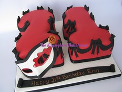 Masquerade Themed 21st Birthday Cake (TheSugarplumBakehouse) Tags: birthday red roses black gold carved mask 21 shaped handmade cut painted name letters banner 21st number bow letter ma