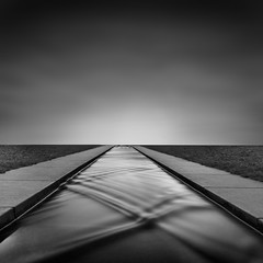 FLOATING BRIDGE. (Neil Hulme.) Tags: longexposure blackandwhite white motion black water monochrome square lumix mono minimalist ndfilter nd110filter blackandwhitelongexposure