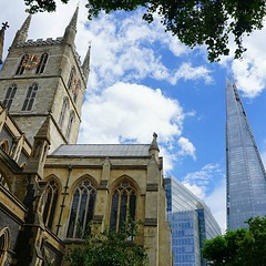 Old London vs New London  (venesha83) Tags: southwarkcathedral london theshard uk cathedral architecture architecturelovers londonarchitecture clouds building glassbuilding