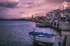 A day on the lake (Davide Carovana) Tags: photography photo landscape lake boat sky cloud sundown sunset light italy sicily messina summer memories