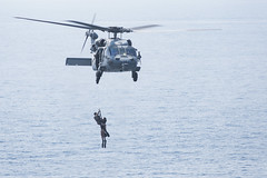 Sailors participate in a search and rescue exercise. (Official U.S. Navy Imagery) Tags: eo381 masscommunicationspecialist caseyjhopkins rearadmjessewilson commander carrierstrikegroup10 csg10 sarsurfaceairrescue exercise arabiangulf