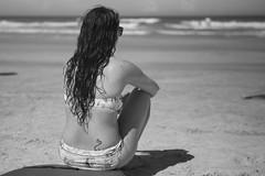 Rhythm of the Waves (gupouk) Tags: beautiful beauty beach girl followmeanywhere vacation sand blackandwhite black white bw gorgeous stunning relaxing