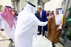 Secretary Kerry and Saudi Arabia Foreign Minister Adel al-Jubeir Return Their Cups After Participating in a Traditional Welcome Ceremony in Jeddah (U.S. Department of State) Tags: johnkerry jeddah saudiarabia adelaljubeir