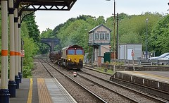 Loco 66044 hauls a rather short Margam Steel to Corby, through Melton Mowbray. 03 06 2016 (pnb511) Tags: class66 dbcargo steel freight station track train loco locomotive signalbox