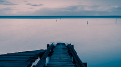 The Boat Ramp (djryan78) Tags: neutraldensity winter wooden dslr australia outdoor canon smooth 6d minimalistic melbourne campbellscove afternoon ramp seascape sigma24105 poles victoria water rickety pole longexposure 24105 neutraldensityfilter wood wyndham portphillip old hoya nd1000 sky sigma portphillipbay bay canon6d hoyand1000