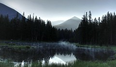Morning Fog On The Water (Spebak) Tags: norcal california summer 2016 spebak jsbcv yosemite nationalpark morning sunrise mountains pond water lale fog sky clouds smoke canon canon30d canondslr trees yosemitenationalpark roadtrip reflection reflections nature northamerica serene calm