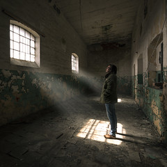 Escape from Alcatraz. (Tomasz Aulich) Tags: oldfactory factory fabric man people sunlight sunshine sun rust vintage windows glass glasses architecture europe poland travel d nikon sigma podre architektura starafabryka fabrykaossera abandoned decay urban urbex indoor exploration