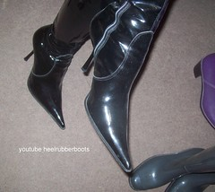 patent leather fetish boots (heelrubberboots) Tags: fetish pvc boots stiefel shiny stiletto schwarz spike sexy plastic plastique pull patent pvcrainwearstiefelbottesmuddybootsgirlsfootwearheelrubberbootsyoutube