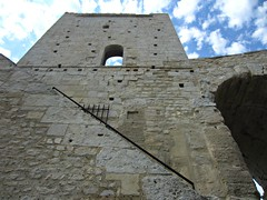 Arles Amphitheatre (AmyEAnderson) Tags: outdoor tower limestone historic roman romanesque architecture arles france bouchesdurhone provence up stairway railing stonework bricks arch archway structure squares unesco