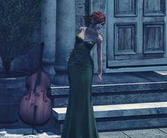 Eine Kleine Nachtmusik (Novaleigh Freng - Blogger/Owner of :Mirror Mirror:) Tags: sl slink physique second life gowns gown fashion clothing mesh meshclothing green outdoors outdoor outside building redhead ginger lelutka swallow aisling truth fashionpreview preview music night dusk just because formal updo avatar accessories jewelry blogger dress female girl hair inspired jumo light shadows makeup modeling model photography photoshop photo secondlife skins appliers stella head chestpiece fiction flash writer slfashion avatars digital filtered white widow tattoos tattoo legend gacha