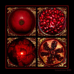 Persephone's Dream - the Epilogue (lunaryuna) Tags: pomegranate fruit persephone greekmythology hommage imagination compo photomosaic theimportanceofred sliderssunday creativeartwork lunaryuna