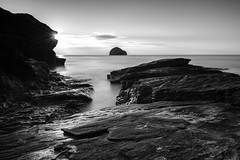 Trebarwith Strand Monochrome (~g@ry~ (clevedon-clarks)) Tags: beach blackwhite blackandwhite blackandwhitelongexposure channel coast coastal cornwall dreamy dusk england exposure landscape long longexposure milkywater mono monochrome ocean outdoor rock rocks rugged scenic sea seascape seaside serene shore south strand sunset trebarwith uk vertical water west