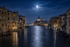 Moon over Santa Maria della Salute Church from the Accademia Bridge, Venice Italy (diana_robinson) Tags: moon nightphotography fullmoon santamariadellasalutechurch accademiabridge venice italy
