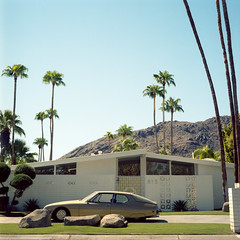 French California (T-Terror) Tags: mamiyac330 epsonv500 square mediumformat 6x6 color house squareformat kodakportra160 california palmspringsca vintage architecture 80mm midcentury citronsm citroen citron car classic french modernarchitecture laspalmas alexanderhome 1960s