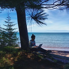 Best office ever (thechelseagrin) Tags: michigan writing upperpeninsula keweenawpeninsula sunsetbay lakesuperior greatlakes nature selfportrait