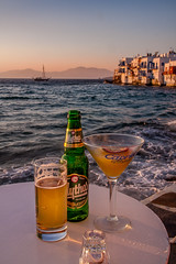 Our Last Greece Sunset (Joe Szalay) Tags: greece mykonos sunset island drinks beer littlevenice sea water architecture boat