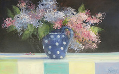 Lilacs in Polka Dot Pitcher