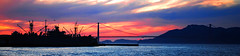 A Golden Gate Sunset (The Moon & Back) Tags: sunset san francisco naval navy golden gate bridge water ocean panoramic panorama fire clouds scenic peaceful bay area california colors our world