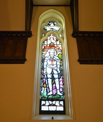 St Michael's War Chapel window to the memory of George Selway, St Peter's Anglican Church, Glenelg, South Australia (contemplari1940) Tags: stgeorge stained glass window memorial georgeselway warchapel stmichaelschapel glenelg hrcavalier rector wtcollyer contractor heatonbutlerbayne northwilliams reredos altar tasmanianoak gksoward architect nigelsomersetdso sirrosssmith aviator rosssmithdfcmc