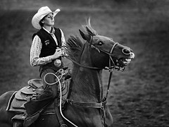 Barrel Runner DML (dianemichaudlowry) Tags: isu october2016 rodeo cowgirl horse