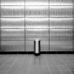 U-Bahnhof Benrather Strae#2 (morbs06) Tags: square bw abstract minimal panels architecture ubahn station bin light shadow