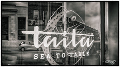 Taita (dougkuony) Tags: benson business street reflection logo mono monochrome bw blackandwhite hdr seafood