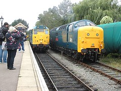 31438 pulls in alongside 55019 at Ongar, EOR Epping Ongar Railway Diesel Gala 17.09.16 (Trevor Bruford) Tags: eor epping ongar heritage railway north weald br blue train diesel locomotive gala deltic d9019 9019 55019 royal highland fusilier napier ee english electric dps preservation society d5557 31139 31438 31538
