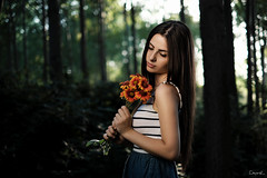Girl with Flowers (dontgiveacake) Tags: girl flowers forest portrait
