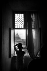 She takes a photo of the beautiful view (Rom/Rome) B&W (matwolf) Tags: rom rome view aussicht st peters dom pope papst women window fenster blackandwhite bw black blanc blackwhite noiretblanc ngc noir noirblanc schwarz schwarzweis monochrome