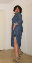 borrowing one of her dresses again (Barb78ara) Tags: jeans jeansdress denim denimdress longdenimdress animalprint animalprintpumps stilettoheels stilettopumps stockings stockingtops seams seamedstockings