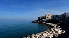 Vieste (michelecarbone900) Tags: vieste puglia foggia italia italy insenatura sea bluehour sonydschx50 mare rocks building landscape