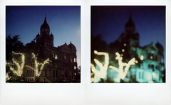 Courthouse-on-the-Square Twilight (tobysx70) Tags: the impossible project tip polaroid sx70sonar sonar instant color film for sx70 type cameras impossaroid roidweek roid week polaroidweek fall autumn october 2016 courthouseonthesquare twilight denton texas tx diptych bokeh outoffocus oof lit illuminated night nocturnal trees fairy christmas lights clock tower polacon2016 polaconone 100116 day1 toby hancock photography