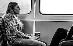 2016_291 (Chilanga Cement) Tags: fuji fujix100t x100t xseries x100s x100 girl lady commuter train bw blackandwhite monochrome coffee window