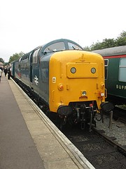 55019 rests up at Ongar, EOR Epping Ongar Railway Diesel Gala 17.09.16 (Trevor Bruford) Tags: eor epping ongar heritage railway north weald br blue train diesel locomotive gala deltic d9019 9019 55019 royal highland fusilier napier ee english electric dps preservation society
