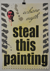 Steal this painting (yellow) (id-iom) Tags: england urban man london art face painting print this graffiti book stencil paint counter head culture screen spray vandalism abbie brixton myth steal hoffman urbane idiom 60s