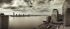 Hudson River Panorama (chapterthree) Tags: park nyc sky sunshine marina river battery aerial hudson financial highres