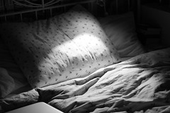 lights in the morning (unicornfresse) Tags: morning light bw white black ikea floral vintage dark bed weekend sheets
